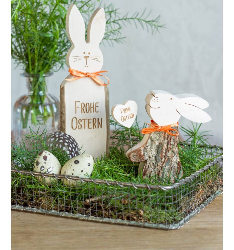 hase mit gravur frohe ostern h he 18 cm. Black Bedroom Furniture Sets. Home Design Ideas