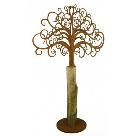 rostiger deko baum xxl mit ornament sten und akazienstamm h he 243 cm. Black Bedroom Furniture Sets. Home Design Ideas