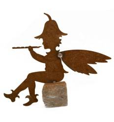 Elfenjunge Gartenfigur Flötenspieler auf Granitstein, Höhe 25 cm