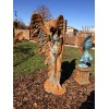 Steinfigur Engel frau SHEKINAH mit Rosteffekt 137 cm