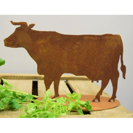 dekorative Edelrost Mini Kuh stehend auf Platte, Höhe 16 cm