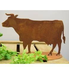 dekorative Edelrost Mini Kuh stehend auf Platte, Höhe 20 cm