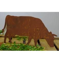 dekorative Edelrost Mini Kuh fressend auf Platte, Höhe 14 cm