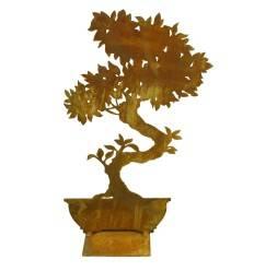 Bonsai schmal auf eckiger Platte Höhe 32 cm - Breite 20 cm