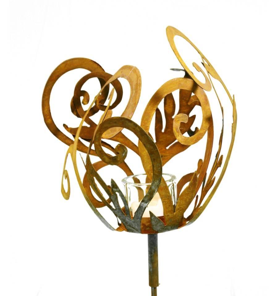 Rost barockfackel auf stab rostige gartenstecker g nstig for Rostige gartenstecker