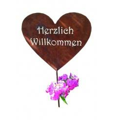 Deko Herz - Herzlich Willkommen - 29 cm Ø als Gartenstecker 100 cm