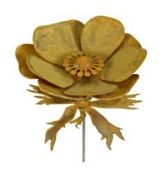 Edelrost Gartenstecker Anemone mit Kugel und Blättern - Höhe 100 cm