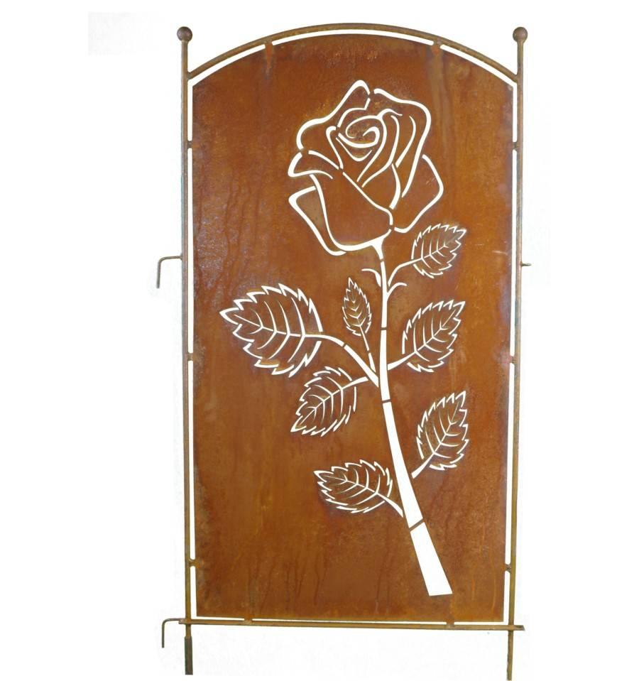 Metall Sichtschutz Rostig Mit Rosen Motiv 70cm X 140 Cm