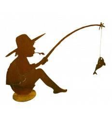 Fischender Angler Manni auf Platte, 70 cm hoch