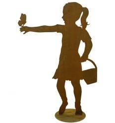 """Mädchen """"Lara"""" mit Schmetterling, auf Platte 120cm hoch"""