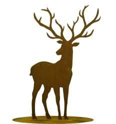 Hirsch mit großen Geweih auf Platte, Höhe: 100 cm