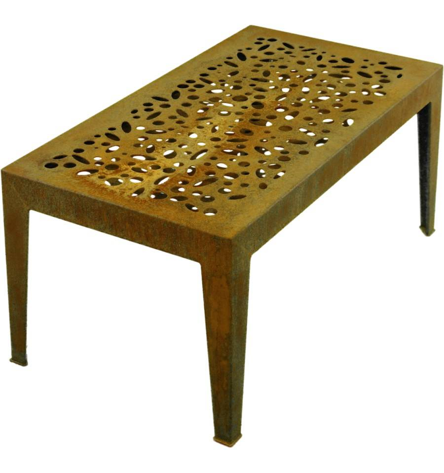 tisch topical blech o corten h he 46 cm fl che 99 x 55 cm. Black Bedroom Furniture Sets. Home Design Ideas