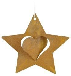7 cm Ø Rost Stern mit Herz innen zum Aufdrehen