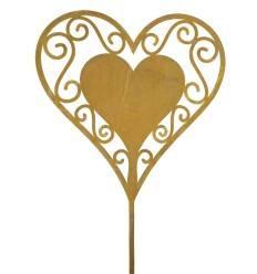 Gartenstecker Herz filigran groß Herz-in-Herz - Höhe Herz: 30 cm