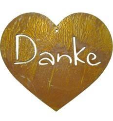 Danke-Herz 1, moderne Schrift - Höhe 12 cm - Breite 13,5 cm