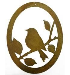 ovales Vogelbild zum Hängen - Höhe 15 cm - Breite 11 cm