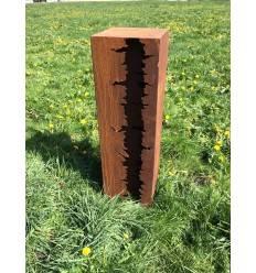 Edelrost Riss Säule mit Zwischenteil 100 cm