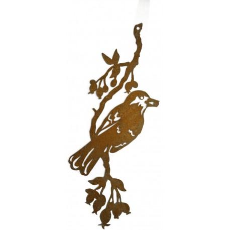 Vogelbild mit 1 Vogel auf Ast zum Hängen L 36cm, B 12cm,