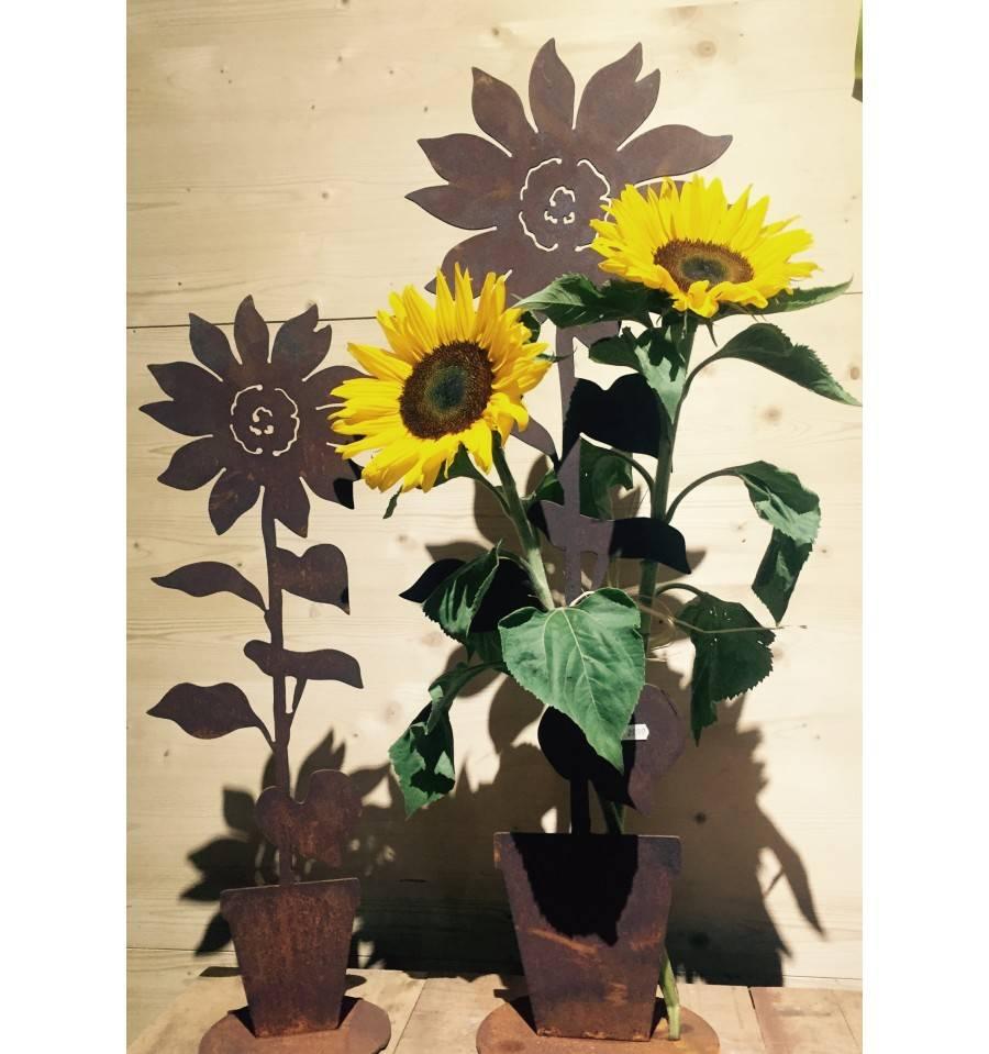 edelrost sonnenblume im topf auf platte. Black Bedroom Furniture Sets. Home Design Ideas