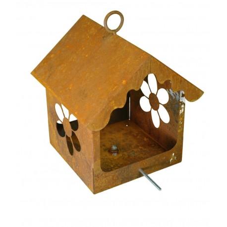 edelrost blumen vogelhaus zum h ngen oder zum stecken h he 30 cm. Black Bedroom Furniture Sets. Home Design Ideas