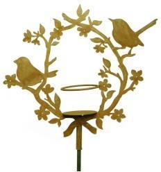 Vögel mit Blütenkranz, Gartendeko zum Stecken