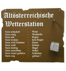 Altösterreichische Wetterstation aus Edelrost zum Hängen, 80 x 70 m inkl. Stein