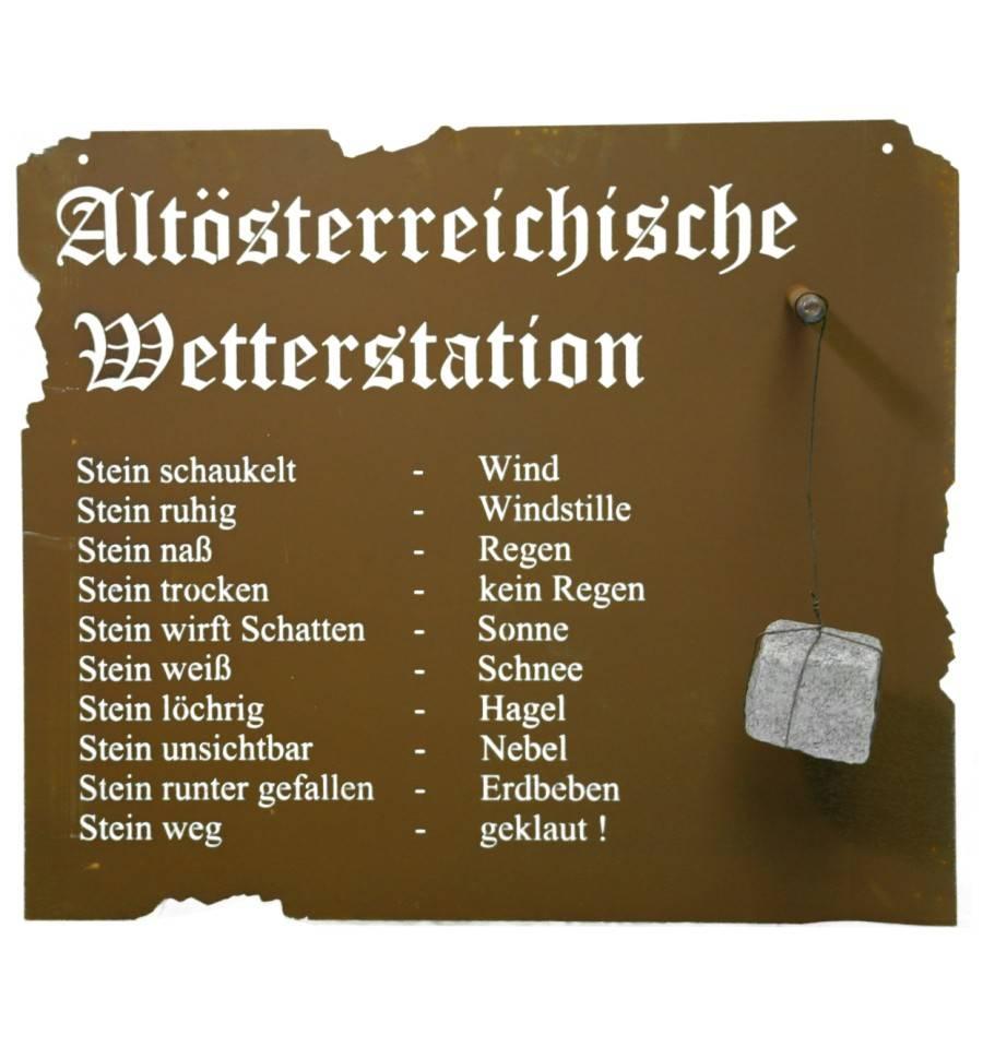 Metall Gartendeko Wanddeko Altdeutsche Wetterstation 70 x 70cm