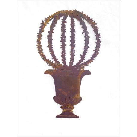 Amphore mit Efeukugel, auf Standplatte Edelrost