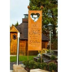XXL Gartenstecker - Sichtschutz - Herz Zuhause - Höhe 205 cm - Wo sich dein Herz wohlfühlt ist dein Zuhause