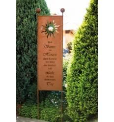 Gartenstecker - Hab Sonne im Herzen - Höhe 200 cm - Tafelhöhe 120 cm - schmaler Sichtschutz