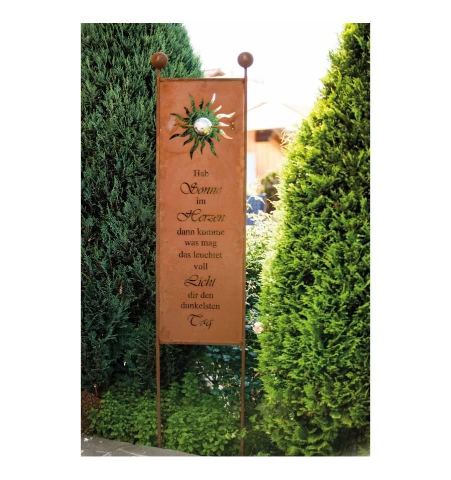 """Gartenstecker """"Sonne"""" edel Rost Höhe 200 cm Tafelhöhe 120 cm 2"""