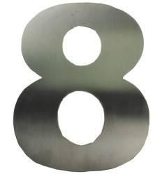 Edelstahl Zahl '8' mit Magnet, 19 cm