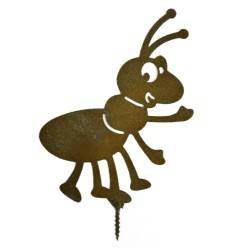 Edelrost Metallsatz Ameise als Baumstecker, zum Einschlagen in Holz,Höhe 13 cm