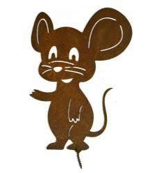 Edelrost Metallsatz, Maus mit großen Ohren, als Baumstecker, zum Einschrauben in Holz,Höhe 18 cm
