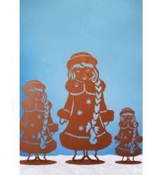 Schneemädchen auf Platte, groß, 83 cm hoch