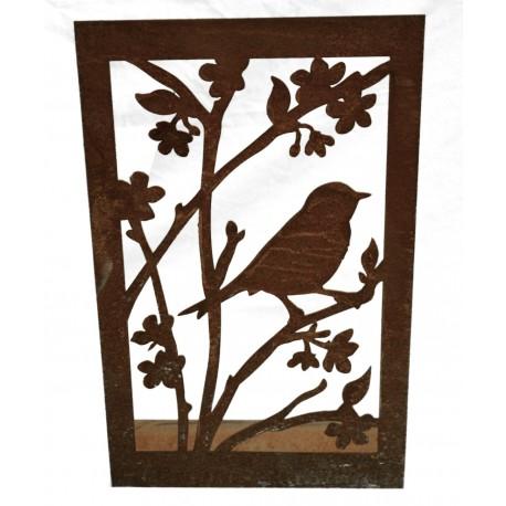 Metallbild Vogel mit Blüten auf eckiger Platte, hübscher Dekoaufsteller