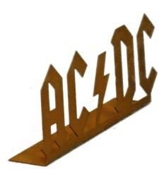 """SCHRIFTZUG """"ACDC"""" 27cm breit  auf Platte- Gartenaufsteller mit Logo der besten Rockband der Welt"""