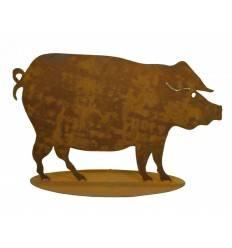 Edelrost Schwein Höhe 50 cm auf Platte