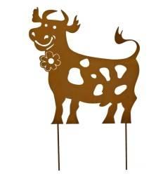 Gartenstecker - lustige Rost Kuh 45 cm hoch