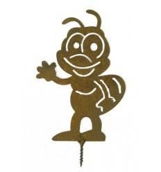 Edelrost Metallsatz Biene als Baumstecker, zum Einschrauben in Holz, Höhe 13 cm