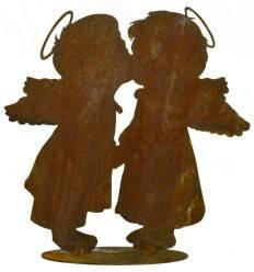 Engelspaar Leo und Lotta, küssend, auf Bodenplatte, Höhe 20 cm