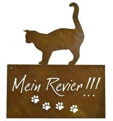 """Katzenschild """"Mein Revier"""" eckig, 35 cm hoch"""
