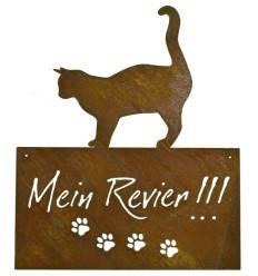 """Katzenschild """"Mein Revier"""" eckig, zum Hängen, Höhe 42 cm"""
