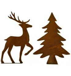 Edelrost Metallsatz Hirsch/Baum Set, 2 tlg, Höhe 32 cm