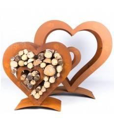 Edelrost Holzregal Herz mit kleinem Herz innen, auf Platte, klein, Höhe 72 cm