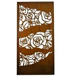 Paravent mit Rosenmuster Fragmenten und Umrandung, 200 x 100 cm