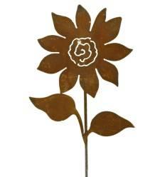 'Sunflower' mit Blättern Höhe 60 cm - Gartenstecker Rost Sonnenblume