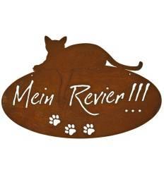 """Katzenschild """"Mein Revier"""" oval, zum Hängen , Höhe 40 cm"""