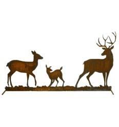 Hirschfamilie zum Stellen auf Stange, 100 cm hoch
