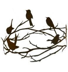 Vögel auf Astring zum Hängen und Stellen, Durchmesser 45 cm
